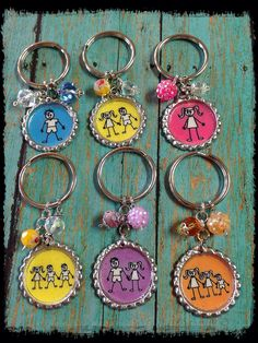 Stick Kids...Family Bottle Cap Keychain...choose your graphic on Etsy, $8.00