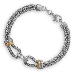 Classic Silver Two-Tone Cable Bracelet