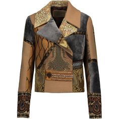 Etro Patchwork embellished camel hair, velvet and wool-jacquard jacket (75.320 RUB) ❤ liked on Polyvore featuring outerwear, jackets, multi, patchwork jacket, embroidered jacket, sequin jacket, etro jacket and jacquard jacket
