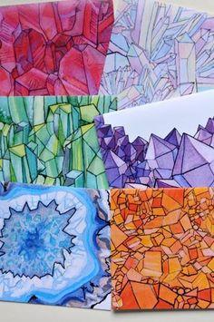 JUMPING GEODES. pretty agate, stones, gem, crystal art. Middle School Art Projects, Classroom Art Projects, Art Classroom, Art Education Projects, Classe D'art, 7th Grade Art, Ecole Art, Art Curriculum, Art Lessons Elementary