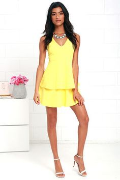 Sweet Deal Yellow Skater Dress at Lulus.com!