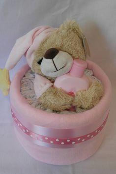 Nappy Cakes and Baby Gifts-GinasBabyBoom - Pink Goodnight Bear Nappy Cake, £12.00 (http://www.ginasbabyboom.co.uk/pink-goodnight-bear-nappy-cake/)