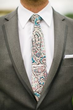 Stylish tie for a groom- so fun instead of the boring solid colors!