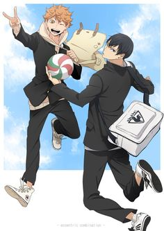 ^ \ ^ Kageyama X Hinata, Haikyuu Karasuno, Kagehina, Haikyuu Anime, Volleyball Team, Noragami, Awesome Anime, Twitter, Random Stuff