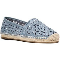 Michael Michael Kors Darci Espadrille Flats (€71) ❤ liked on Polyvore featuring shoes, flats, washed denim blue, cut out flats, slip on flats, platform flats, blue flat shoes and blue platform shoes