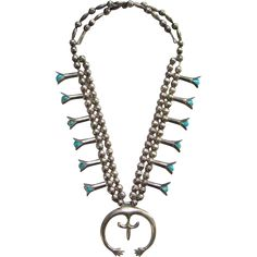Navajo Squash Blossom Necklace Sterling Silver Turquoise in Blossoms Naja with Hands Native American