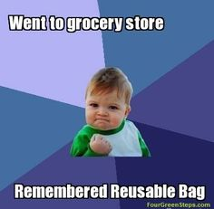 accomplishment baby meme: this is me every time I go to the store and remember to bring a bag