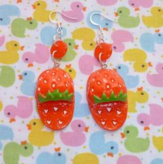 Red Strawberry Slippers and Button Earrings by NiNEFRUiTSPiE, £3.50