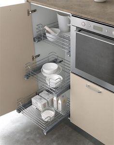 Kitchen storage. Clean & modern design with metal elements