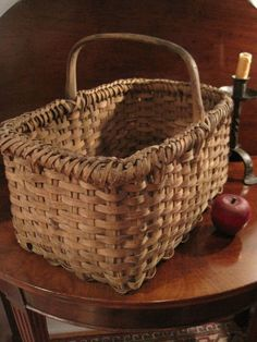 Antique New England Black Ash Woven Braided Rim Gathering Basket AAFA For Sale North Bayshore Antiques