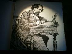 Charles Dickens from the sketchbook of Jonny Dixon (www.jonnydixon.co.uk) Sketchbooks, Statue, Artwork, Painting, Art Work, Work Of Art, Auguste Rodin Artwork, Painting Art, Paintings