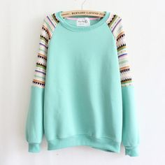 Mint Sweater Shirt Ethnic Pattern