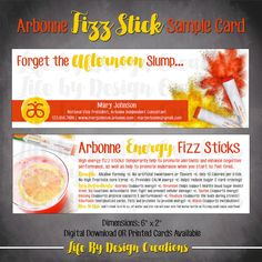 Arbonne Energy Fizz Sticks Sample Card - Perfect way to get your samples out. Doubles as a business card with personal contact information and website.