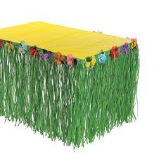 "Hibiscus Green Table Skirt - OrientalTrading.com  $14.00 8 ft x 29"""