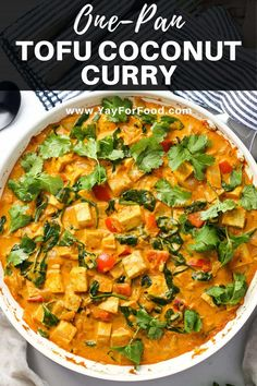 ONE-PAN TOFU COCONUT CURRY - Wonderfully spiced with a mild curry flavour, this tofu coconut curry is a quick, easy, and delicious vegan meal made in one pan. Tofu Recipes, Curry Recipes, Vegan Recipes Easy, Cooking Recipes, Dinner Recipes, Slow Cooking, Cooking Tips, Tofu Curry, Vegans