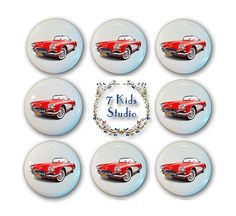 Corvette Drawer Knob Drawer Pull Handle Dresser Cabinet Porcelain Children Room Garage Work Shop Kid Girl Ceramic Furniture Hardware