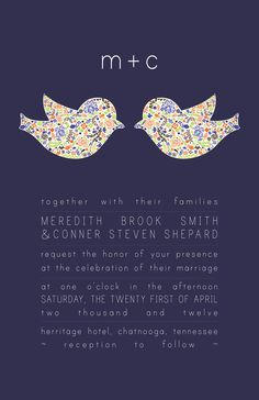 Items similar to Modern Love Birds Wedding Invitations and Response Cards with Monogram- 50 Each on Etsy Wedding Prep, Spring Wedding, Wedding Planning, Love Birds Wedding, Dream Wedding, Wedding Images, Wedding Cards, Wedding Inspiration, Wedding Ideas