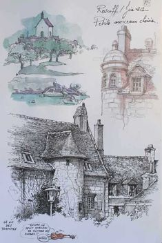 #UrbanSketvch, Details of a stone country house. Architectural Insiration. Pencil, pen and watercolor field drawings. #France.