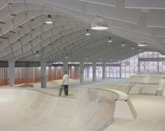 Today's object of obsession: shed conversions. Zap' Ados Skate Park in Calais by Bang Architectes Architecture Images, Interior Architecture, Youth Center, Adaptive Reuse, Parking Design, Skate Park, Green Building, Facade, Repurposed