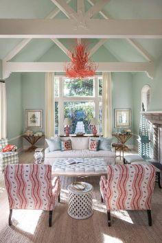 Massucco Warner Miller Interior Design - Turquoise and Coral l Coastal Living Rooms l www.DreamBuildersOBX.com