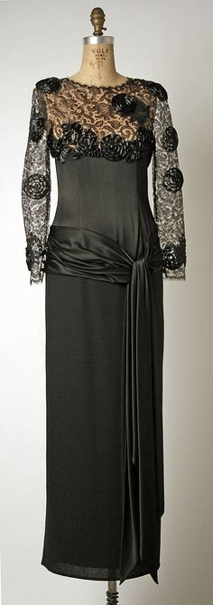 1980s silk and lace evening dress by Bill Blass. Gift of former first lady Nancy Reagan, via MMA.