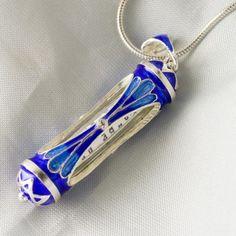 Sterling Silver Judaica Pendant Blue Dream w Sabbath Prayer Inside | enameljewelry - Jewelry on ArtFire