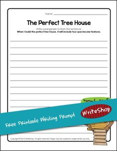 With this free printable tree house writing prompt, kids can plan four favorite features of their dream tree house.