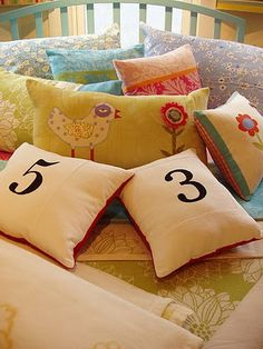 Bright colors and whimsical designs. Pillows.