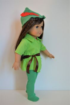 Handmade Doll Clothes Peter Pan Costume fit by LittlewestCraftShop