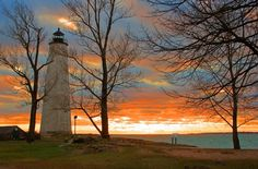 Lighthouse Sunset In New Haven, Connecticut