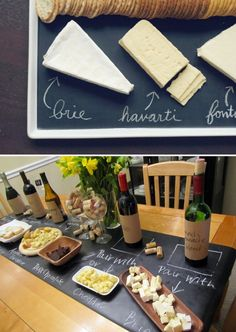 Wine and cheese display using chalkboard paint. Such a great way to label each cheese.