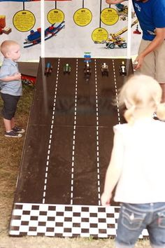 Once your guests have built their cars, take them into the backyard (or another room) to race!