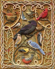 birds of beebe woods fabric sculpture- Wee Folk Studio artist Salley Mavor Crazy Quilting, Bordado Popular, Art Du Fil, Art Textile, Folk Embroidery, Wool Applique, Fabric Art, Bird Art, Felt Crafts
