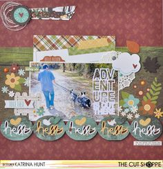 """The Cut Shoppe & Simple Stories Team Up! Layout by Katrina Hunt uses """"Hit the Road"""" and """"Borderlines"""" cut files from The Cut Shoppe."""