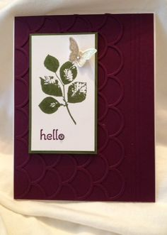 Stampin' Up! Kinda Eclectic, Striped Scallop Framelit, greeting is from A Dozen Thoughts, Blackberry Bliss, Mossy Meadow, the butterfly is in metallic gold ink, cut down the striped scallop to leave about an inch on the right side of the card, score the right side with 3 lines, you might also be able to squeeze some other embossed border onto the right side next to the score lines, I like the tone on tone but you could use a different color with the striped scallop, what a beautiful card!