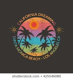 Vector illustration on the theme of surf and surfing in Santa Monica Beach. Typography, t-shirt graphics, poster, print, postcard Surf Vintage, Overlays, Beach Logo, Beach Illustration, Surf Design, Photography Logo Design, Surf Art, Beach Art, Graffiti