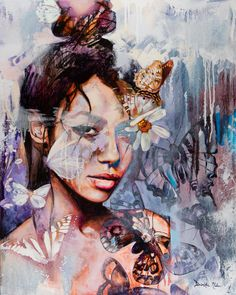 Re-Vision, an original oil painting of a woman with butterflies by Dimitra Milan