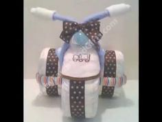 How to Make a Motorcycle Diaper Cake Tutorial (step by step instructions) DIY baby shower gifts - YouTube