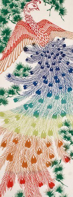 Japanese Tenugui Towel Cotton Fabric, Chinese Phoenix, Hand Dyed Fabric, Legendary auspicious Bird Fabric, Headband, Home Decor, wf002