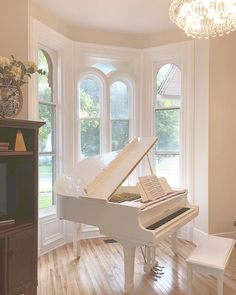 Our formal parlor in our remodeled 1865 Italianate home has become our piano roo Grand Piano Room, Piano Room Decor, Dream Home Design, My Dream Home, House Design, Piano Living Rooms, Dining Room, White Piano, Luxury Homes Dream Houses