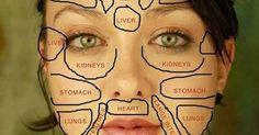 Traditional Chinese medicine claims that each part of the face is related to certain organs in your body. Here is how this chinese face map looks like. Chinese Face Map, Face Mapping, The Face, Heart And Lungs, Body Organs, Facial Massage, Massage Tips, Foot Massage, Traditional Chinese Medicine