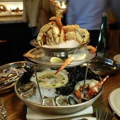 Seafood Tower (oysters, marinated mussels in espelette pepper vinaigrette), shrimp cocktail, dungeness crab, lobster, Alaskan king crab, and marinated scallops in garlic and buttermilk. Wouldn't need to order this again, but would definitely order the scallops a la carte. At La Banane