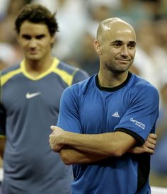 US Open 2005 Federer spoils 35-year-old Andre Agassi's hopes of ending his career with victory in front of his home crowd, defending his title with a 6-3, 2-6 7-6 (7-1), 6-1 win