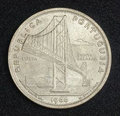 Portugal 20 Escudos Silver coin, Salazar Bridge, Mint Year 1966. Obverse: Perspective view of the Salazar Bridge. Legend: REPUBLICA PORTUGUESA / LISBOA / PONTE SALAZAR / 1966   Reverse: Shield of Portugal, topped by lis and value within geometric design. Legend: 20 ESCUDOS