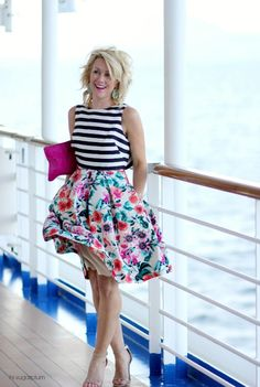 Hi Sugarplum | Cruise Style Pairing stripes & florals is so fresh and chic!