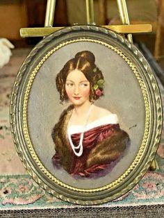 OOAK Signed Miniature Portrait Oil Margaret Nine Painting in Roger Gutheil Frame #RogerGutheil