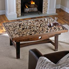 Cork Collector Coffee Table with Barrel Stave Legs at ThirstyNest - Wine Registry Good idea to display medals and mementos Wine Cork Projects, Wine Cork Crafts, Resin Crafts, Wine Barrel Furniture, Bar Furniture, Wine Cork Table, Wine Corks, Whiskey Barrel Coffee Table, Table Palette