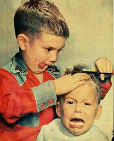 In this photo. It beings back memories, because my younger brother did that to m. In this photo. Funny Kids, Cute Kids, Cute Babies, Barber Shop Decor, Vintage Photography, White Photography, Vintage Pictures, Belle Photo, Funny Photos