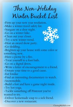 The Non-Holiday Winter Bucket List