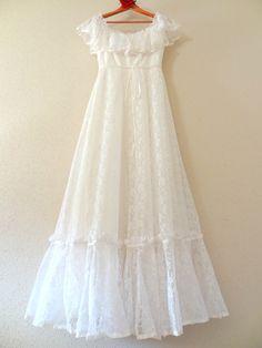 Vintage Lace Flower Child Hippie Wedding Dress. $289.00, via Etsy.